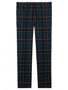BZV3 IN PUR WOOL TARTAN CHECK - BOTTLE GREEN, NAVY, YELLOW, PEARL GRAY