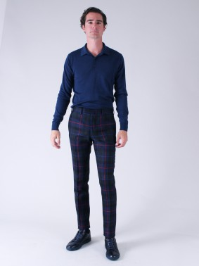 BZV3 IN PUR WOOL TARTAN CHECK - RED, BLUE AND NAVY
