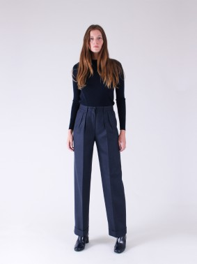REBECCA IN PURE WOOL - HERRINGBONE NAVY AND BLACK