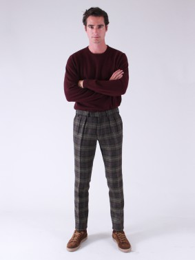 BZV3 WITH TWO FRENCH PLEATS IN VIRGIN SHETLAND WOOL - BRONZE GREEN, BROWN, RED AND SKY BLUE CHECK
