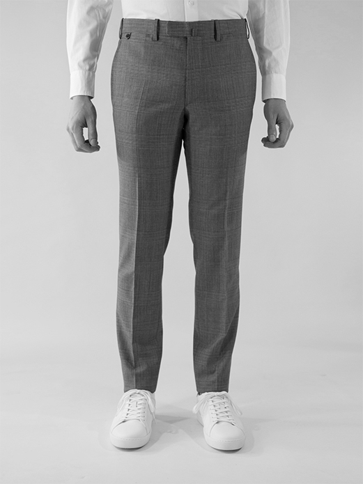 BZV3 in fitted pants in cool wool plain weave - Glen check