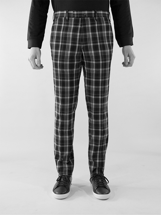 BZV3 fitted pants in madras yachting seersucker