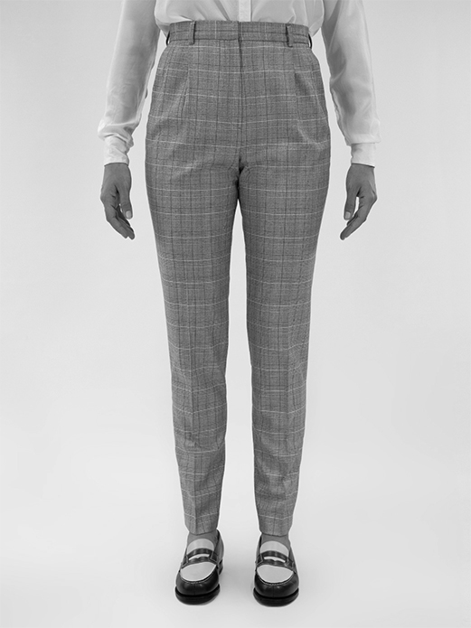 Brother with pleats in Silk & wool Prince of Wales check